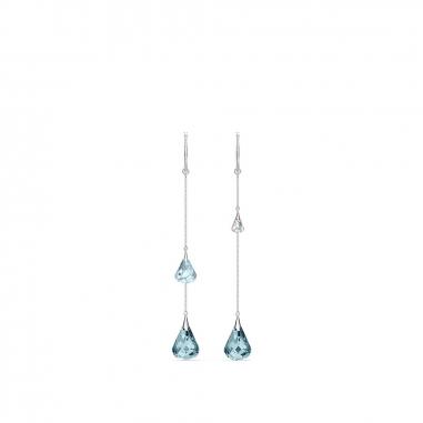 Swarovski施華洛世奇 Spirit藍晶多水滴垂耳環