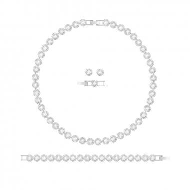 Swarovski施華洛世奇 Angelic鑲邊白圓晶三件組