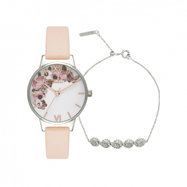 Olivia BurtonOlivia Burton Enchanted花面粉錶+手鍊組